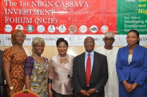 R-L: British American Tobacco Nigeria Foundation (BATNF), General Manager, Abimbola Okoya,  The New Partnership For African Development (NEPAD), Assistant Director Partnership, Ibrahim Abdul, Federal Institute of Industrial Research Oshodi (FIIRO), Deputy Director, Dele Oyeku, NEPAD Business Group Nigeria (NBGN), 1st Vice Chairman,  Chief (Dr.) Nike Akande, 3rd Chairman Planning Committee, Chief (Mrs) Eniola Fadayomi and Infrastructure Concession Regulatory Commission,  Director General, Ifeyinwa Emelife at the 1st NEPAD Business Group Nigeria  Cassava Investment Forum (NCIF) in Abuja